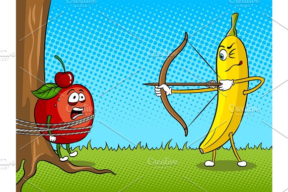 Banana Bow And Apple Pop Art Vector Illustration