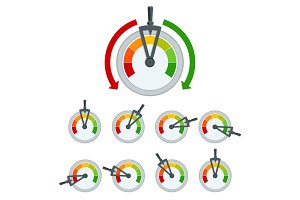 Success conceptual meter hundred percent. Set of Metal framed customer satisfaction meter.