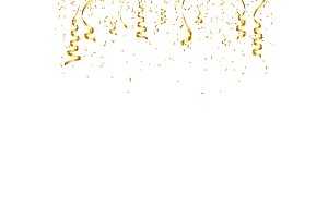 Christmas golden confetti with ribbon. Falling shiny confetti glitters in gold color. New year, birthday, valentine s day design element. Holiday background.
