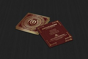Square Gold and Red Business Card