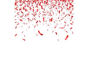 Christmas, Valentine s day red confetti on transparent background. Falling shiny confetti glitters. Festive party design elements.
