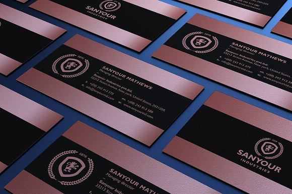 Rose gold business card business card templates creative market colourmoves