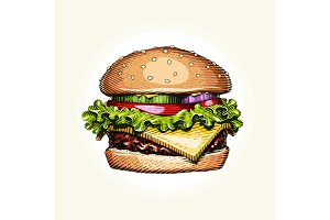 Hamburger. Fast food. Engraving vintage