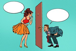 man and woman looking through a door, Voyeurism and privacy
