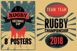 Rugby vintage grunge posters.
