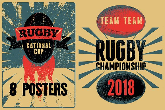 Rugby Vintage Grunge Posters