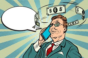 Businessman talking on the phone about money