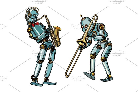 Brass Band Musicians Robots Saxophone And Trombone