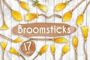 Watercolour Witches Broomsticks