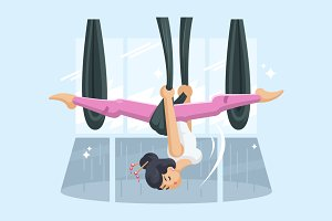 Girl in hammock doing fly yoga