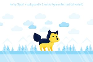 Husky Dog Winter Clipart