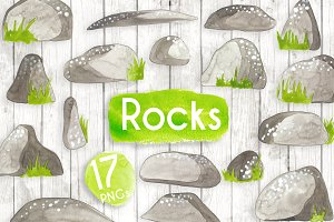 Watercolour Rocks and Boulders