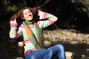 Portrait of cute happy woman
