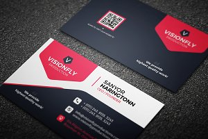 Corporate Red & Blue Business Card