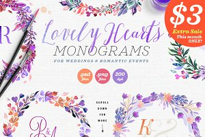 Lovely Hearts Monograms II