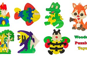 A set of children's wooden toys isolated white background. Collage wooden puzzles toys.