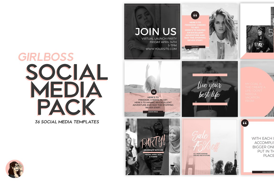 GirlBoss Pink Social Media Templates