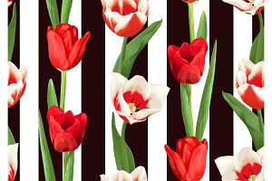 Seamless pattern with red and white tulips. Beautiful realistic flowers, buds and leaves