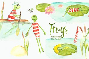Watercolor Frogs Clip Art Set