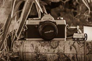 Vintage Camera in Sepia