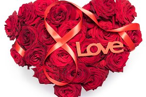 Heart Made Red Roses bouquet Red ribbon Figure 8 Infinity sign Text Love Isolated White Background.
