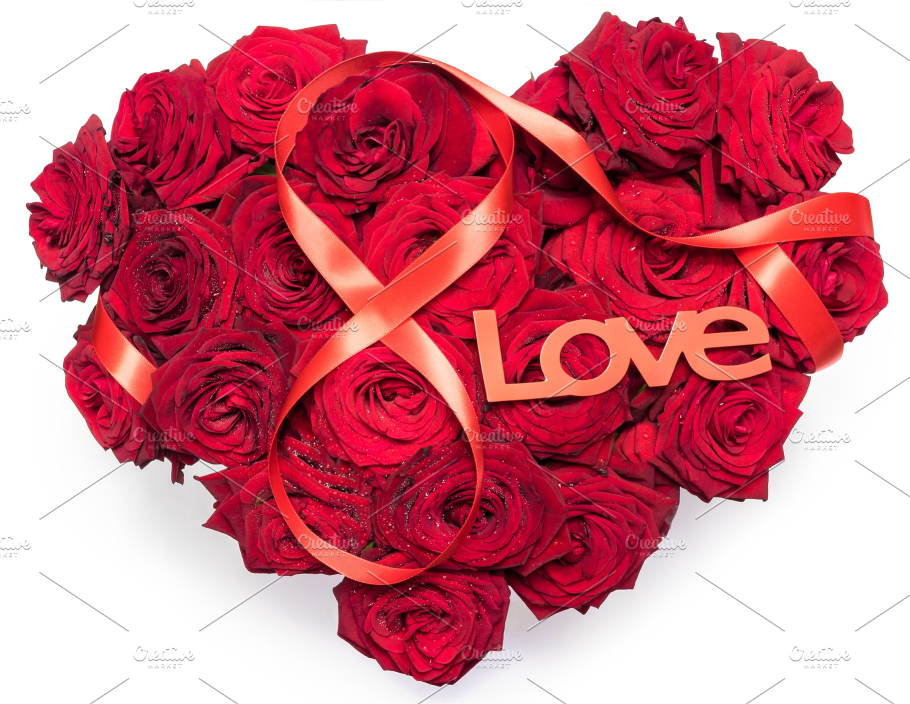 Heart Made Red Roses Bouquet Red Ribbon Figure 8 Infinity Sign Text