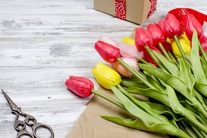 Bouquet of spring colorful tulips