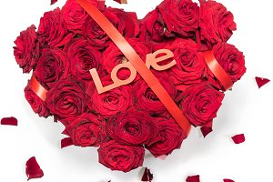 Heart Made Red Roses bouquet Red ribbon Text Love Petals Isolated White Background.