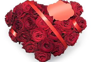 Heart Made Red Roses bouquet Red ribbon Text place Note Isolated White Background.