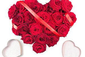 Heart Made of Red Roses bouquet red ribbon and two hearts boxes Isolated on White Background.