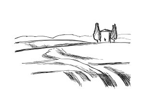 Landscape vector illustration. Hand drawn fields sketch