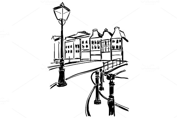 Street With Old Lights In Contrast Ink Graphic Old City Landscape With Lights And House Sketch For Vintage Card Poster