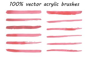 Acrylic brushes 100% vector.