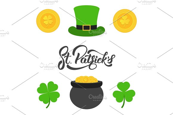Saint Patrick's Day Lettering Gold Coins Clovers And Cylinder Hat Set Of Elements For Patrick's Day