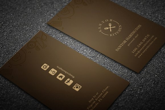 elegant restaurant business card business card templates creative market - Restaurant Business Card