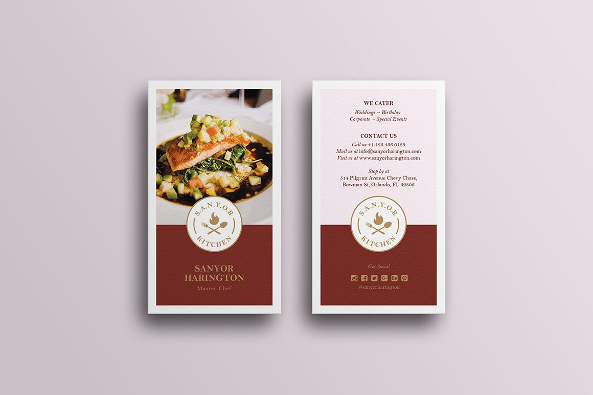 Elegant food business card business card templates creative market colourmoves