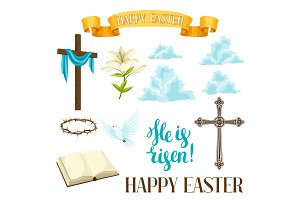 Happy Easter set of decorative objects. Religious symbols of faith