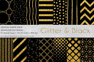 Glitter Black Digital Paper