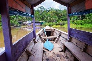 Purple Canoe on the Amazon River