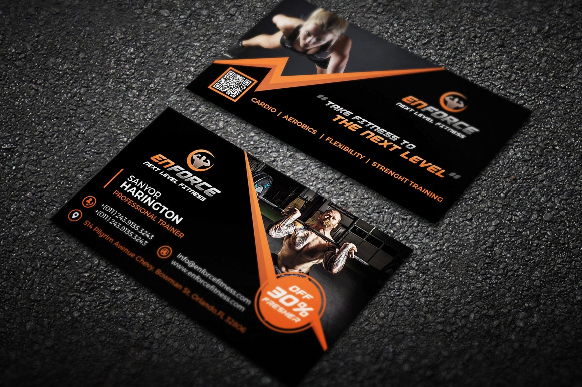 Fitness Gym Sports Business Card ~ Business Card Templates ...