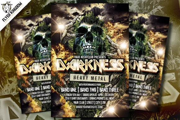 Darkness Heavy Metal Flyer Template ~ Flyer Templates ~ Creative Market