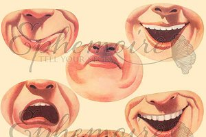 Mouths - Clipart Image Set 10 PNGs