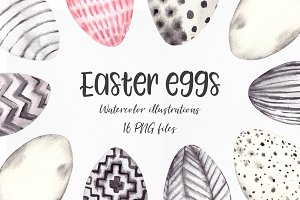 Easter eggs. Watercolor illustration