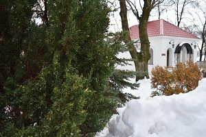 Christmas time, classical view on snowy roofs