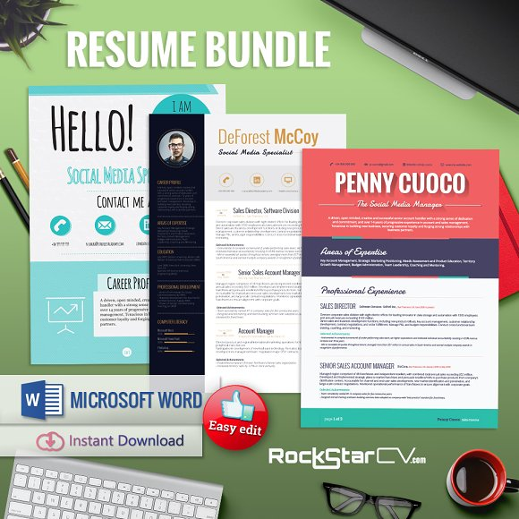 3 Resume Templates Bundle in Resume Templates - product preview 1