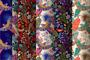 Bright decorative floral patterns