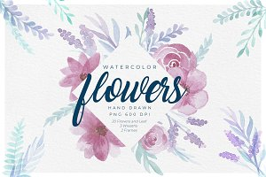 Delicate Watercolor Floral Graphics