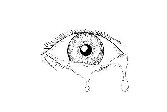 Human Eye Crying Tears Flowing Drawi