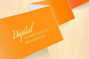 Orange paper over wooden background.
