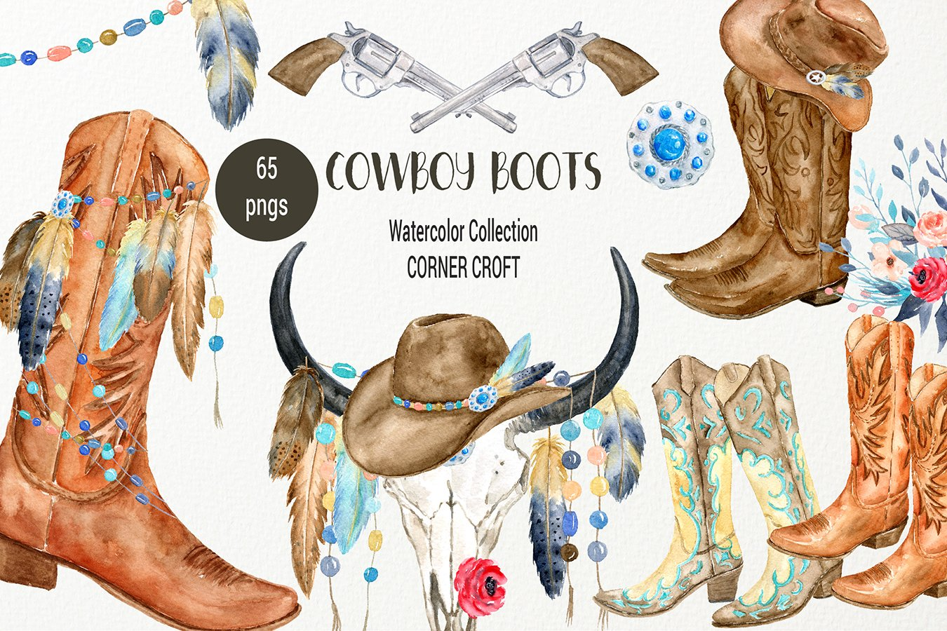 Fresh Watercolor Cowboy Boots Collection ~ Illustrations ~ Creative Market ON57